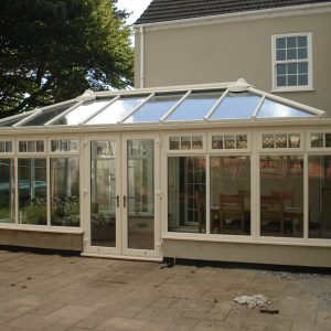 Cream uPVC conservatory and French doors