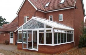 White uPVC Conservatory with French Doors
