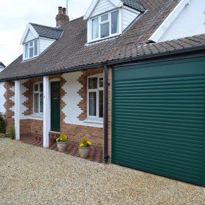 Green roller garage door