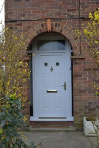 First Queens White uPVC Door with top light