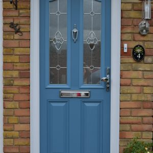 First Hertfordshire Duck Egg Blue Composite Double Glazed Door With Majestic Decorative Glass