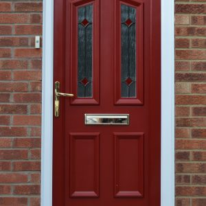 Colne Red uPVC panel door with ruby diamond decorative glass
