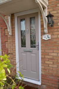 Grey Composite Door with Karri Decorative Glass