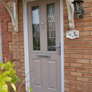 First Meridian Birch French Grey Composite Double Glazed Door with Karri Decorative Glass