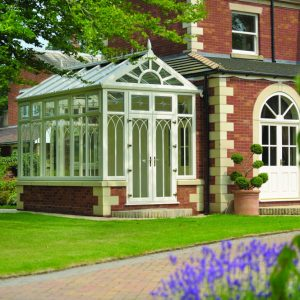 Cream bespoke uPVC conservatory glass extension