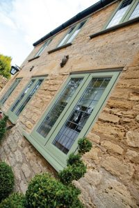Double Glazed Casement Window in Green uPVC