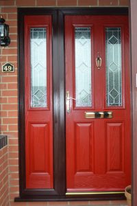 Red uPVC Double Glazed Door With Side Panel including Ruby Diamond Decorative Glass
