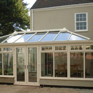 Cream uPVC hipped back edwardian conservatory