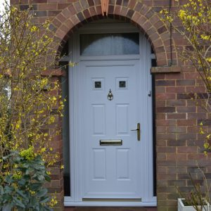 Queens white uPVC double glazed door with top light