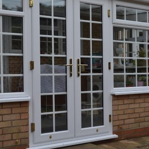 White uPVC French Double Glazed Doors with Georgian bars