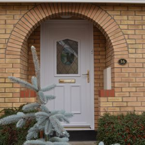Kingfisher stained glass in white composite door