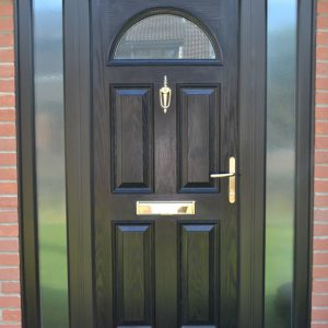 Meridian Ash composite front door in black with double glazing window