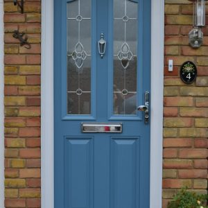 Hertfordshire duck egg blue composite double glazed door with Majestic decorative glass