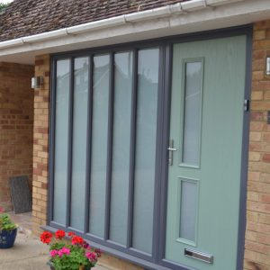Meridian Cedar Chartwell green composite double glazed door with grey side panels