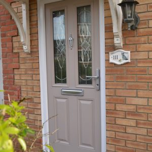 Meridian Birch French grey composite double glazed door with Karri decorative glass