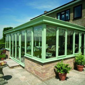 Green uPVC double glazed conservatory