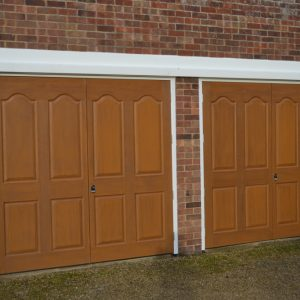 Golden oak garage doors
